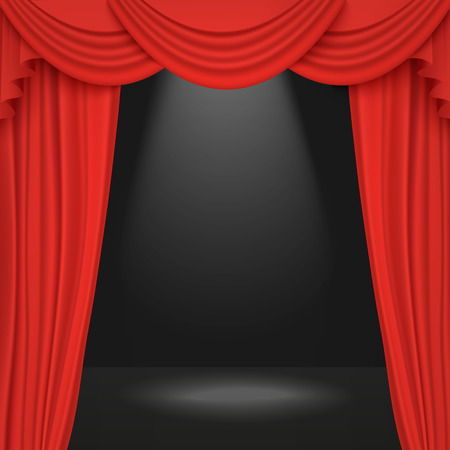 Spotlight on stage theater or cinema open curtain 3d realistic vector illustration in red and black. Performance or awards ceremony show opening classic concept.