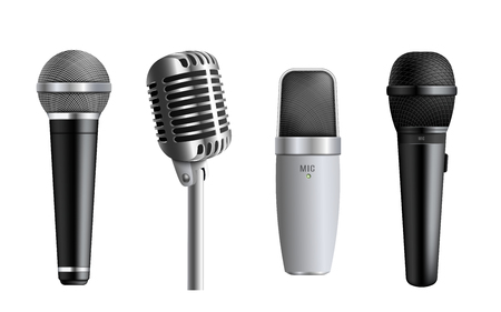 Set of microphones the concert and studio equipment item 3d realistic vector illustration isolated on white background. Modern sound apparatus for stage and record.