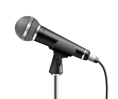 Microphone the element of sound audio equipment 3d realistic vector illustration isolated on white background. Modern sound apparatus item for stage and karaoke.