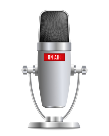 Microphone the element of sound record studio equipment 3d realistic vector illustration isolated on white background. Modern sound apparatus item for stage and conferences.