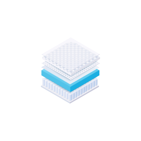 Layered orthopedic mattress advertisement 3d realistic vector illustration isolated on white background. Breathable and comfortable spine supporting materials for bed. Stock fotó - 128170180