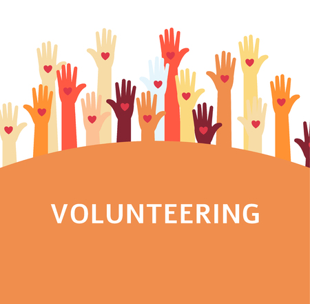 Volunteer group with raised hands, people with hearts on palms working for charity together as diverse friendly community to help support through teamwork, vector illustration on white background