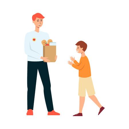 Un homme bénévole fait un don de nourriture à un enfant affamé. Un jeune militant avec des provisions dans un sac en papier fait un don pour aider un petit enfant à manger, illustration vectorielle plane isolée sur fond blanc