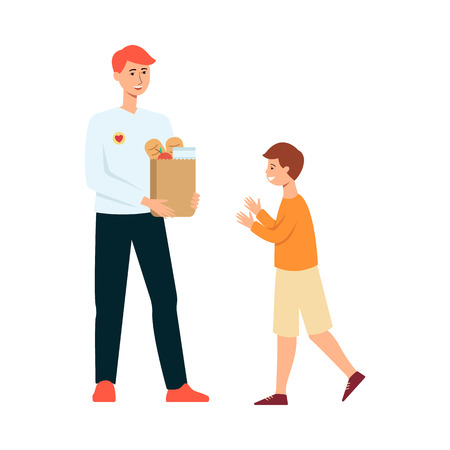 Volunteer man gives food donation to hungry child. Young activist with groceries in paper bag donates to help small kid to eat, flat vector illustration isolated on white background