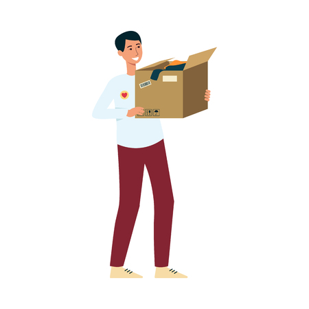Volunteer holding box of clothes donation, young man, social worker giving charity aid to homeless and taking care of people. Flat hand drawn cartoon character isolated on white background.