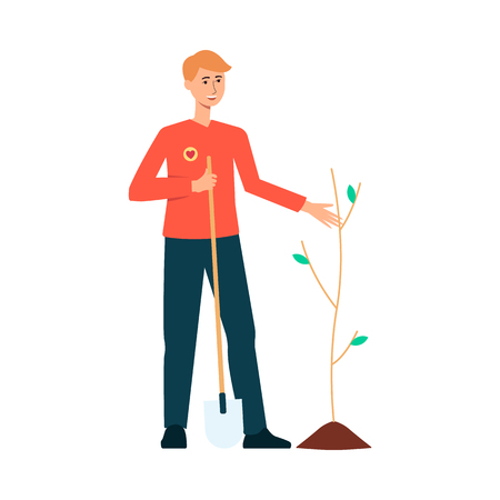 Volunteer planting a tree in nature. Happy young man holding a shovel, smiling at seedling and working for environment. Flat hand drawn cartoon character isolated on white background.