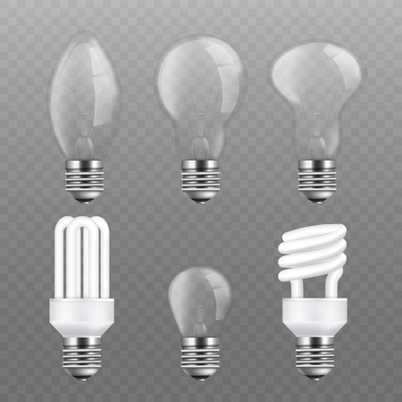 Realistic light bulb set - electric power llightbulb collection in various types. Energy efficient and electricity saving fluorescent lamps, isolated vector illustration on transparent background