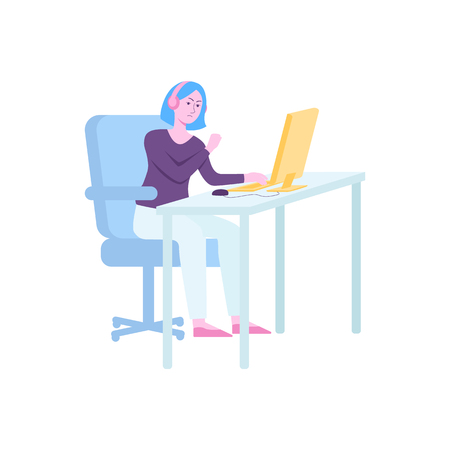 Angry girl playing video game on computer, hand drawn female cartoon character gamer with headphones sitting behind desk and waving fist at screen, isolated vector illustration on white background