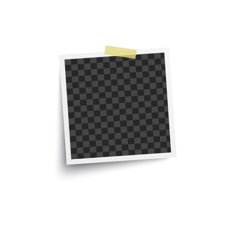 Album blank or empty photo square frame placed on wall by one piece of adhesive tape mockup. Photorealistic retro card backdrop vector illustration isolated on white.
