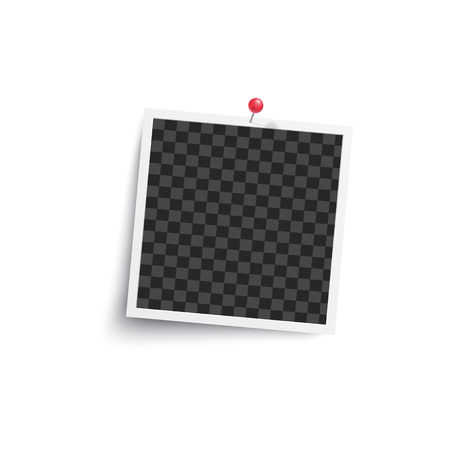 Album blank or square empty photo frame pinned to white wall mockup. Photorealistic retro card vector illustration isolated on white. Illustration