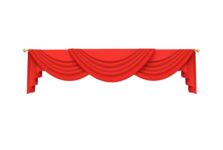Red velvet curtain valance drapery decoration hanging from golden rod,. Scarlet theater stage frame luxury decor for performance premiere - realistic vector illustration isolated on white background.