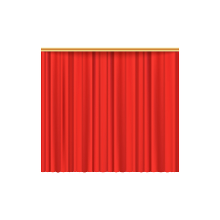 Red velvet curtain background for luxury theater performance event and cinema premiere, realistic scarlet silk fabric texture, isolated vector illustration on white background.