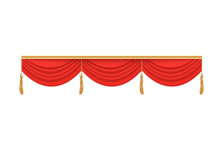 Red theater stage curtain valance with three folds and decorations, wide short velvet drapery for theatrical background frame, realistic fabric textured vector illustration isolated on white background.