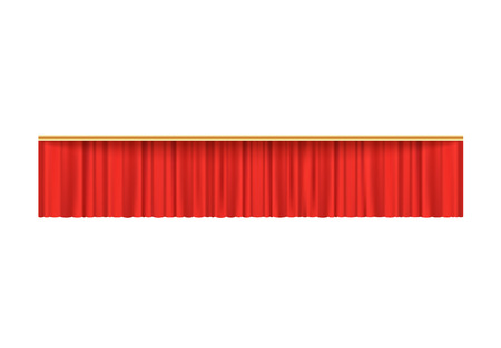 Red velvet curtain valance for theater stage performance premiere, wide and short rectangle shape fabric piece for luxury decoration - vector illustration isolated on white background.