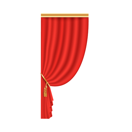 Red theater curtain open on one side, scarlet velvet fabric for stage performance premiere event, single left part of silk textile decoration, isolated vector illustration on white background.
