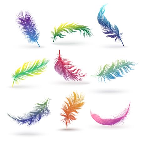 Set di piume di uccello isolate, aculei soffici colorati in sfumature di colore arcobaleno che galleggiano e cadono in diverse posizioni e angoli, illustrazione vettoriale realistica disegnata a mano su sfondo bianco
