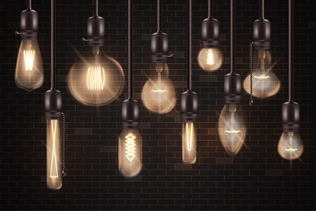 Set of 3d different shaped glowing light bulbs hanging on wires realistic style, vector illustration isolated on dark brick wall background. Vintage incandescent Edison lamps for loft interior
