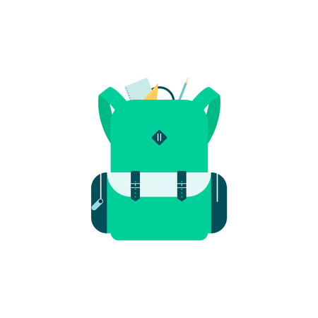 Green school bag with sticking out stationery and supplies flat cartoon style, vector illustration isolated on white background. Backpack with pencil and notebook and ruler, back to school