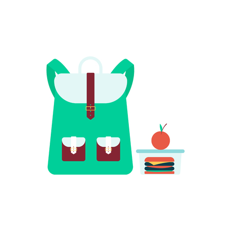 School bag stands near lunch box with sandwich and apple flat cartoon style, vector illustration isolated on white background. Green backpack and lunch container with food and fruit, back to school