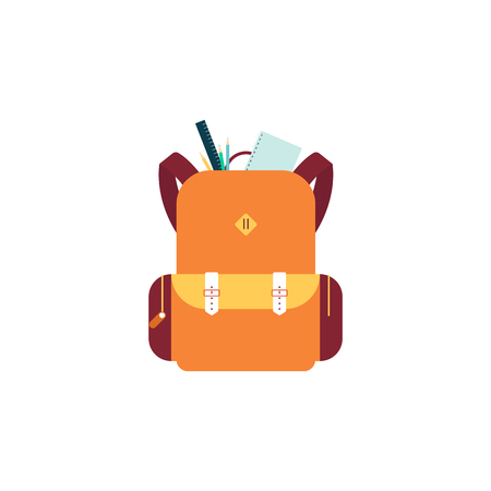 Yellow backpack or schoolbag with note and ruler in flat vector illustration isolated on white background. Education and study rucksack for students and traveling icon.