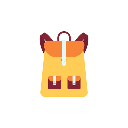 Yellow backpack or schoolbag with pockets in flat style vector illustration isolated on white background. Education and study rucksack for students and traveling icon.