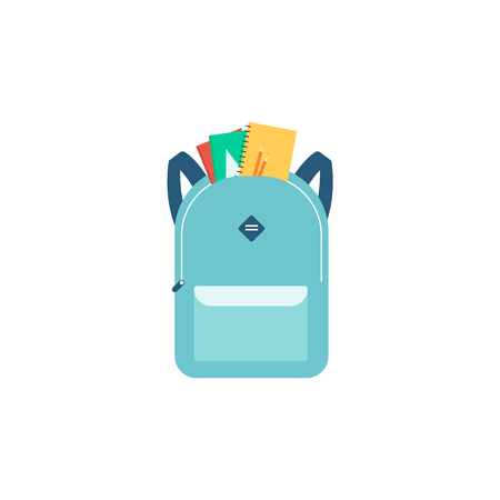 School backpack with notebooks and front pocket, blue cartoon bag with education supplies shown in half open zipper, colorful flat vector illustration isolated on white background 向量圖像