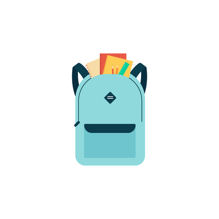 Blue school bag with education supplies. Cartoon backpack with notebook, pencils and ruler showing in front, isolated flat object on white background - vector illustration. Stok Fotoğraf - 122854379