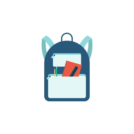 Blue backpack with school supplies isolated on white background. Full cartoon student bag with contents peeking from inside - pen, pencil, ruler, notebook, flat vector illustration