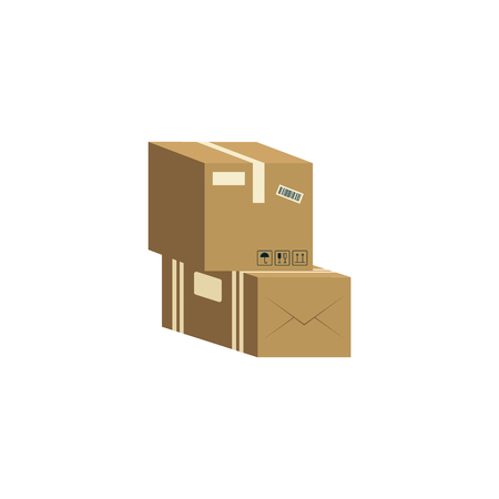 Two brown cardboard boxes stacked on each other cartoon style, vector illustration isolated on white background. Pile of parcel delivery containers from corrugated carton