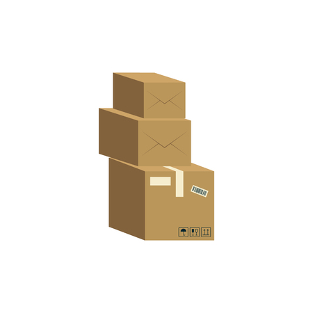 Three brown cardboard boxes stacked on each other cartoon style, vector illustration isolated on white background. Pile of parcel delivery containers from corrugated carton
