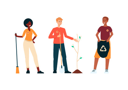 Set of volunteers people saving environment cartoon style, vector illustration isolated on white background. Men and woman stand holding broom and garbage bag for cleaning and man planting tree