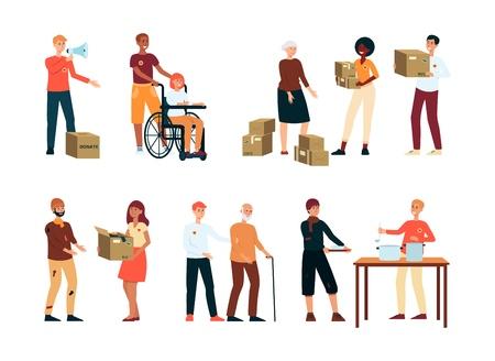 Freiwillige spenden Lebensmittel an Obdachlose und Bedürftige Vektor-Illustration isoliert auf weißem Hintergrund. Freiwillige kostenlose Hilfe für ältere und behinderte Menschen und Wohltätigkeitsarbeit.