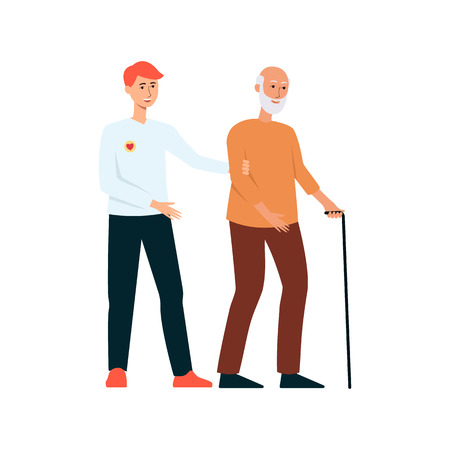 Volunteer man helps the elderly man with disability flat vector illustration isolated on white background. Voluntary free assistance help and charity grace work concept.