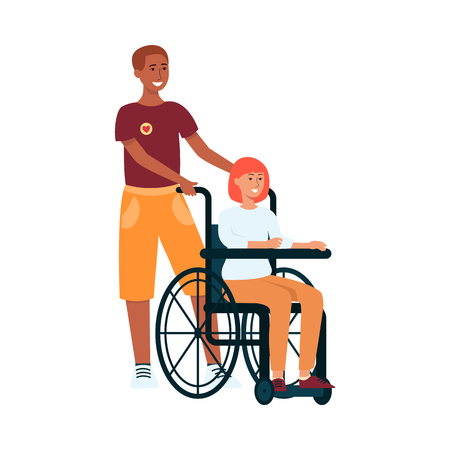 Volunteer man helps young woman with disability flat vector illustration isolated on white background. Voluntary free assistance help and charity grace work concept.