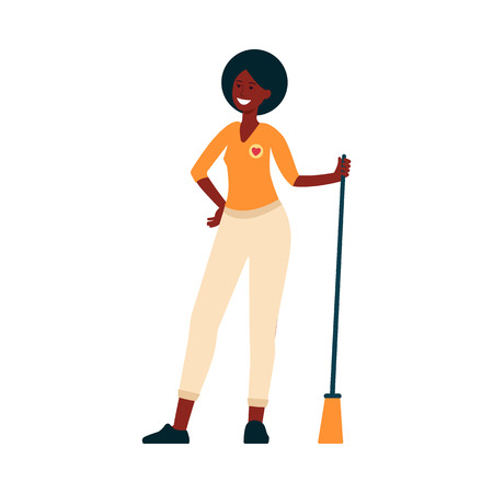 Volunteer woman cleaning up garbage, sweeping floor with broomstick, posing happy and smiling glad to help. Young black cartoon girl character flat vector illustration isolated on white background.