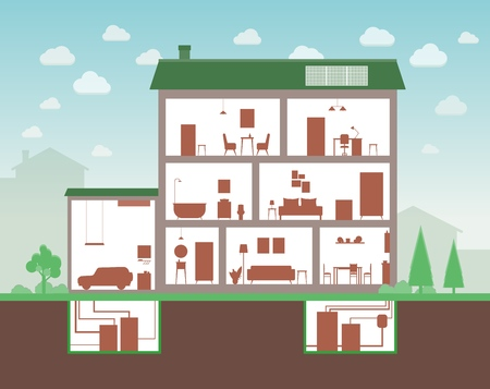 House cut with inside interior view, cartoon home section of three floor building and furniture outline silhouettes and separate room plants, flat vector illustration