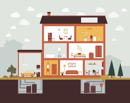 Sección de corte de casa grande con diseño de interiores y muebles. Plan de construcción del edificio con garaje, dormitorio, baño, oficina, cocina, sótano - ilustración vectorial