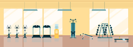 Modern sport club gym cartoon interior with treadmill, abdominal bench and barbells on stand flat style vector illustration. Fitness equipment for healthy lifestyle