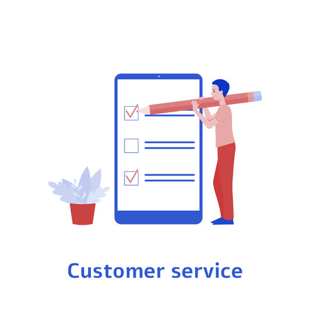 man character in front of phone screen leaves a feedback flat vector illustration isolated on white background. Customer experience and online review concept.