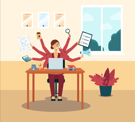 Multitasking business woman or office manager administrator dispictured as a character with several hands flat vector illustration. Effective employment concept.