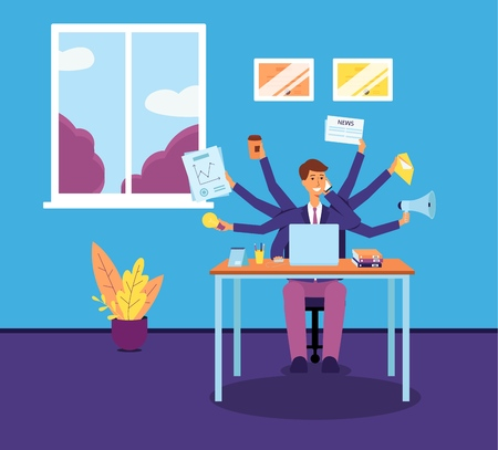Multitasking business man or manager administrator dispictured as a character with several hands in the office flat vector illustration. Effective employment concept.