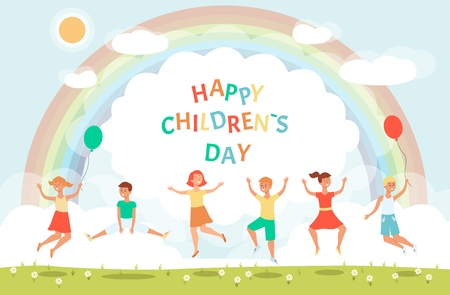 Ready to use banner for childrens day with group of cute happy jumping children characters on the joyful colorful background vector illustration. Cheerful boys and girls.