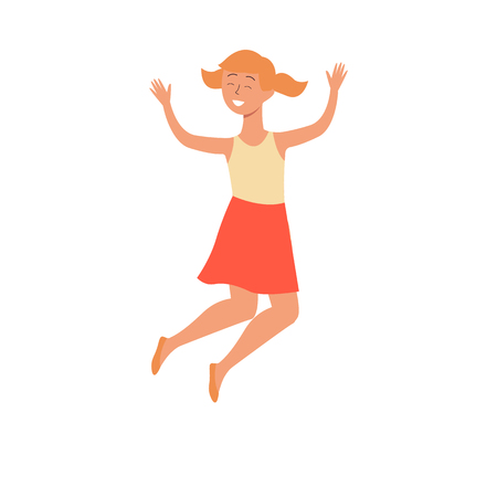 Cute smiling girl jumping in air flat vector illustration isolated on white background. The concept of happy childhood for international childrens day or active lifestyle.