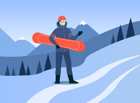 Man in ski suit and goggles stands outdoors holding snowboard cartoon style, vector illustration on flat mountain landscape background. Male snowboarder stands on hill slope, extreme winter sport Stock Illustratie