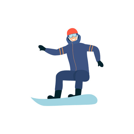 Man in ski suit and goggles standing on snowboard spread arms cartoon style, vector illustration isolated on white background. Happy male riding on snowboard, extreme winter sport Illustration