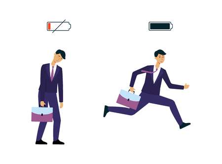 Businessmen or office workers with different level of charge battery flat vector illustration isolated on white background. Indicator of energy from low to full icon.