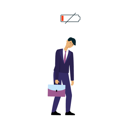 Businessman or office worker discharged and tired with low energy scale icon flat vector illustration isolated on white background. People needing power and recharge.