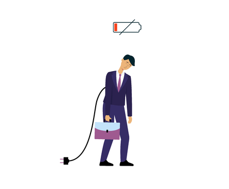 Symbol of low charged battery with character of businessman or office worker tired and frustrated with recharge cable vector illustration isolated on white background. Illustration