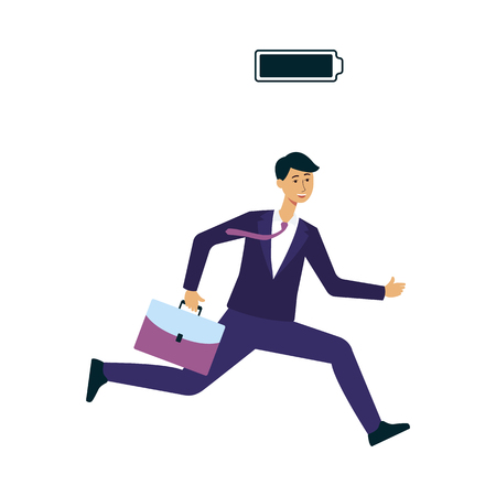 Businessman or office worker in suit with full battery indicator to show his energy level vector illustration isolated on white background. Fully charged and energetic man.