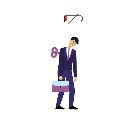 Sleepy businessman with low battery sign and antique clock winding key in back, tired male cartoon character in business suit going to work, isolated hand drawn office worker vector illustration